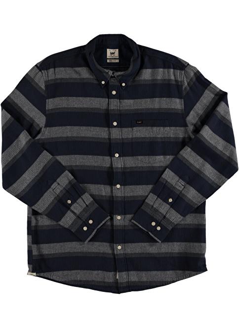 Lee Çizgi Detaylı Uzun Kollu Gömlek Lacivert
